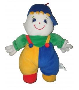 Peluche doudou Clown Grelot bleu vert jaune 32 cm Leclerc Siplec