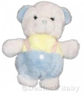 Doudou peluche OURS blanc BOULGOM Salopette bleue jaune H 27 cm