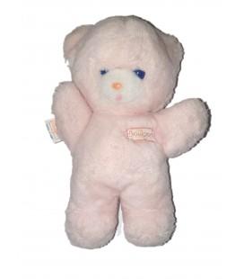 BOULGOM Peluche ours rose blanc yeux bleus 24 cm