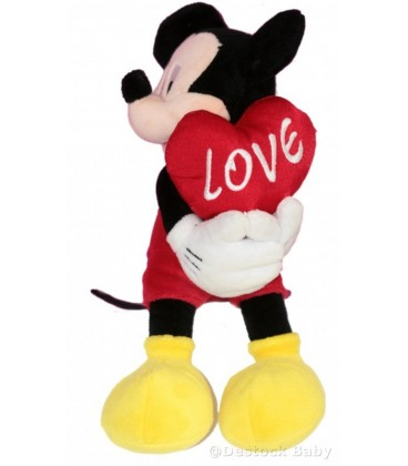 Peluche doudou MICKEY Coeur Love DISNEYLAND Resort Paris H 26 cm