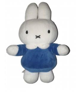 Doudou peluche Lapin bleu blanc Grelot Miffy 22 cm Tiamo
