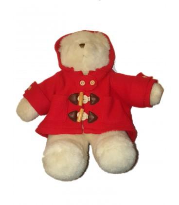 Peluche ours manteau rouge France Loisirs 36 cm