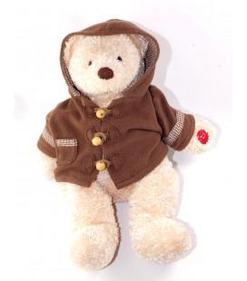 Peluche ours beige manteau marron Damart 38 cm