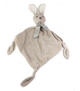 CARREBLANC Doudou plat lapin blanc beige gris echarpe coeur 3 noeuds