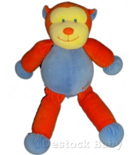 Doudou peluche SINGE Bleu orange KaLOO 1998 40 cm Voir descriptif