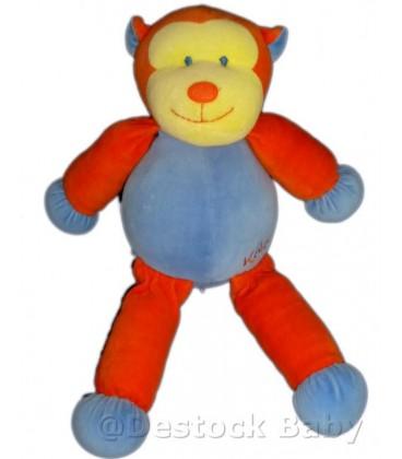 Doudou peluche SINGE Bleu orange KaLOO 1998 40 cm Voir descriptif