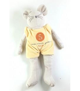 BERLINGOT Doudou Une souris grise Salopette jaune 32 cm