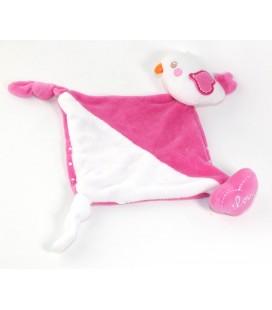 Doudou plat oiseau blanc rose mouchoir coeur love Leclerc Siplec