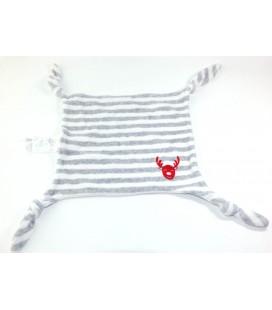 VERTBAUDET Doudou plat cerf rennne gris blanc tete rouge 4 noeuds