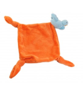 CARRE BLANC CARREBLANC Doudou plat orange oiseau bleu