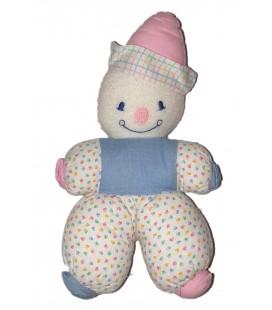COROLLE Doudou clown Vintage Ancien blanc bleu chapreau rose 23 cm