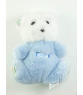 BOULGOM Peluche ours blanc bleu grelot 16 cm