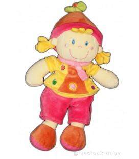 Doudou Fille Lutin Rose jaune MOTS D'ENFANTS 26 cm