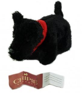 Peluche Chien noir Chippie Poche fermeture dos 20 cm