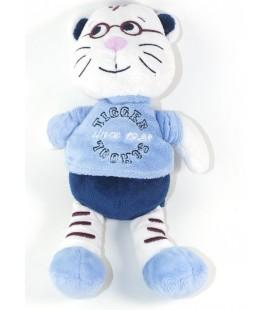 TOUT SIMPLEMENT Doudou chat tigre lunettes blanc bleu 25 cm