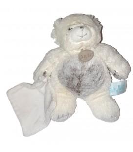 Doudou Baby Nat Ours les Flocons blanc marron mouchoir Babynat BN664