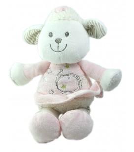 VETIR Doudou Mouton blanc rose gris Etoiles vertes rayures 22 cm