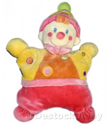 Doudou Clown Lutin rose jaune semi plat coussin Grelot NICOTOY