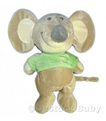 Doudou peluche SOURIS grise TIaMO Collection Pull T-shirt vert 35 cm