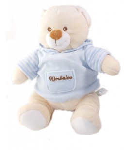 KIMBALOO Peluche doudou Ours pull bleu sweat capuche assis 20 cm