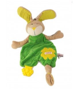 SIGIKID Doudou plat lapin vert fleur jaune
