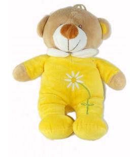 Peluche doudou Ours jaune Fleur Idem Tex Nicotoy 36 cm