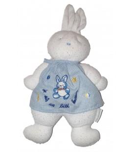 Doudou Lapin blanc tablier bleu Je suis un Bebe Heureux Klorane 35 cm