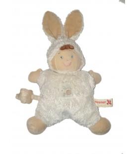 Doudou Lutin déguisé lapin blanc semi plat coussin Nicotoy Etoile