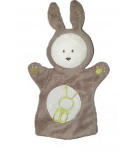 OBAIBI Doudou marionnette lapin gris beige blanc vert 27 cm