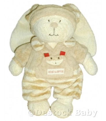 Doudou peluche LAPIN beige ORCHESTRA Nicotoy Mon Lapin Rayures H 36 cm