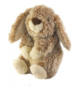 LASCAR Doudou peluche lapin marron blanc