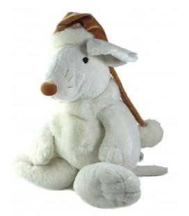 LASCAR Doudou peluche Souris blanche bonnet marron Echarpe 42 cm