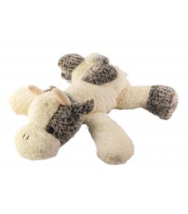 LASCAR Doudou peluche Vache blanc marron 28 cm