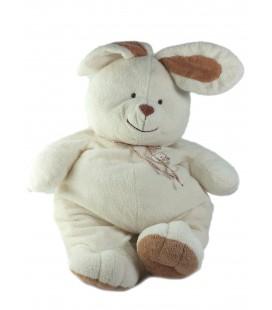 LASCAR Doudou peluche Lapin blanc beige marron 45 cm