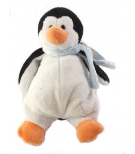 LASCAR Doudou Pingouin blanc noir Echarpe bleue 18 cm