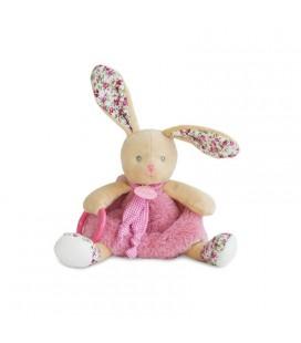 BABY NAT Doudou d activite Lapin rose Les Poupis