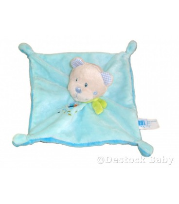 Doudou plat OURS bleu Papillon TEX Baby CMI Carrefour Echarpe verte