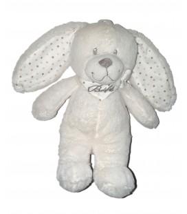 Doudou Peluche Lapin blanc Bebe Pois gris Pommette 25 cm