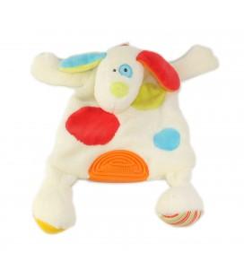 Babysun Doudou plat chien blanc ronds rouge bleu vert