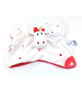 Doudou Plat Girafe blanc rouge P tit Bisous Aubert Grelot