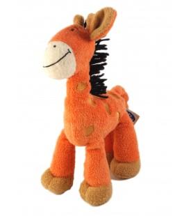 MOTS D ENFANTS Doudou Girafe orange criniere noire laine 25 cm
