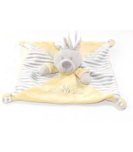 Doudou plat Lapin gris jaune rayures Vetir