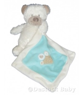 Doudou peluche ours blanc Nicotoy Mouchoir bleu 22 cm