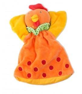 Doudou Marionnette Poule orange une Bergamote La cocotte Nature et decouvertes