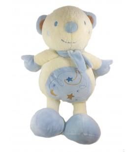 Peluche Doudou Ours blanc bleu Etoiles 40 cm SAUTHON
