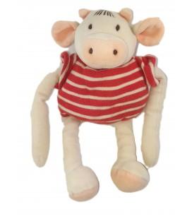 Doudou Cochon blanc rayures rouges 26 cm NOUNOURS