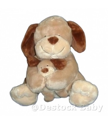 Doudou peluche CHIEN marron beige et son bébé NICOTOY 23 cm assis