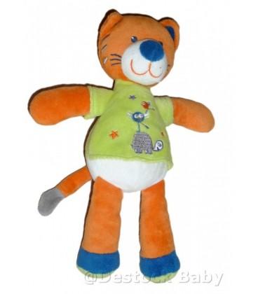 Doudou Chat Tigre Orange Vert NICOTOY 24 Cm