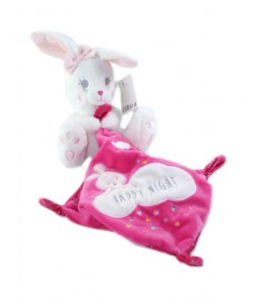 Doudou Lapin blanc Mouchoir rose Happy Night Simba nez coeur rose