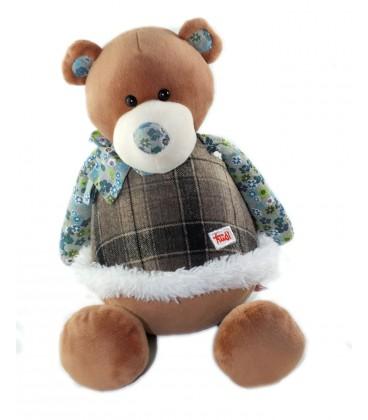 Peluche doudou ours Marron Les Folky Friends Trudi 32 cm tissu Fleuri bleu gris